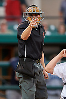 Home plate umpire Sam Burch calls a strike during a game between the Tampa Tarpons and the Lakeland Flying Tigers on April 5, 2018 at Publix Field at Joker Marchant Stadium in Lakeland, Florida.  Tampa defeated Lakeland 4-2.  (Mike Janes/Four Seam Images)