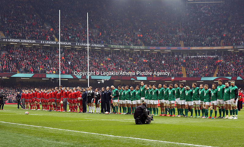 Pictured: The line up of the welsh and irish teams Saturday 14 March 2015<br /> Re: RBS Six Nations, Wales v Ireland at the Millennium Stadium, Cardiff, south Wales, UK.