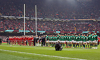 Pictured: The line up of the welsh and irish teams Saturday 14 March 2015<br />