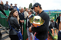 Rafael Nadal et sa fiancée Maria Francesca « Xisca » Perello après la finale du Monte Carlo Rolex Masters 2017 qui a opposé Rafael Nadal à Albert Ramos-Vinolas sur le court Rainier III du Monte Carlo Country Club à Roquebrune Cap Martin le 23 avril 2O17. Nadal a remporté le match en 2 sets, 6/1 - 6/3. Il remporte ici ce tournoi pour la dixième fois.