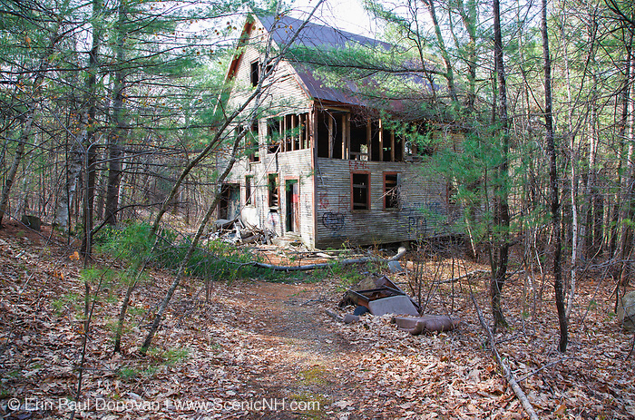 An old wooden dwelling at the abandoned Redstone Granite quarry in Conway, New Hampshire.