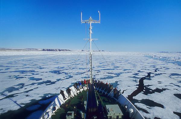 View from ice breaker on Hinlopenstreet, Spitsbergen, Svalbard, Spitsbergen, Norway, Arctic  .