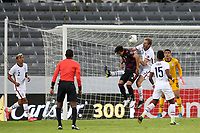 GUADALAJARA, MEXICO - MARCH 24: Henry Kessler #3 of the United States goes up for a header with Jose Macias #9 of Mexico during a game between Mexico and USMNT U-23 at Estadio Jalisco on March 24, 2021 in Guadalajara, Mexico.