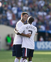 Clint Dempsey and DaMarcus Beasley celebrate. The USA defeated China, 4-1, in an international friendly at Spartan Stadium, San Jose, CA on June 2, 2007.