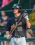 12 July 2015: West Virginia Black Bears first baseman Albert Baur stands on deck during a game against the Vermont Lake Monsters at Centennial Field in Burlington, Vermont. The Lake Monsters rallied to defeat the Black Bears 5-4 in NY Penn League action. Mandatory Credit: Ed Wolfstein Photo *** RAW Image File Available ****