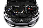 Car Stock 2021 Peugeot 2008 Allure 5 Door SUV Engine  high angle detail view