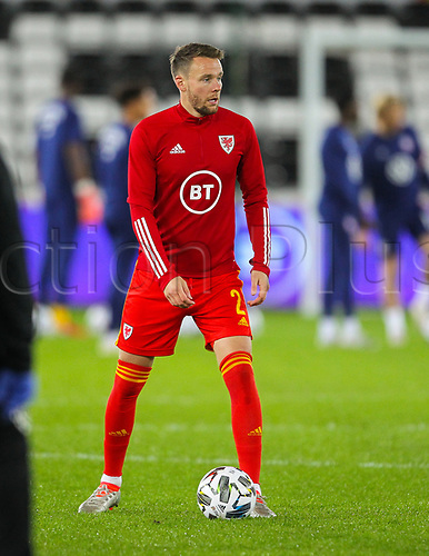 12th November 2020; Liberty Stadium, Swansea, Glamorgan, Wales; International Football Friendly; Wales versus United States of America; Chris Gunter of Wales during the warm up