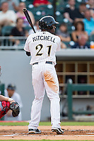 Jared Mitchell (21) of the Charlotte Knights at bat against the Gwinnett Braves at BB&T Ballpark on August 19, 2014 in Charlotte, North Carolina.  The Braves defeated the Knights 10-5.   (Brian Westerholt/Four Seam Images)
