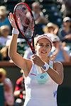 March 8, 2019: Stephanie Voegele (SUI) reacts after defeating Sloane Stephens (USA) 6-3, 6-0 at the BNP Paribas Open at the Indian Wells Tennis Garden in Indian Wells, California. ©Mal Taam/TennisClix/CSM