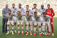 CARSON, CA - May 25, 2014: LA Galaxy Starting Lineup prior to the LA Galaxy vs Philadelphia Union match at the StubHub Center in Carson, California. Final score, LA Galaxy 4, Philadelphia Union  1.