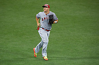 Los Angeles Angels outfielder Mike Trout jogs to the dugout during the MLB All-Star Game on July 14, 2015 at Great American Ball Park in Cincinnati, Ohio.  (Mike Janes/Four Seam Images)
