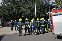 Firefighters being instructed in RTA and casualty handling techniques by Rescue Tender Crew Oxfordshire UK. This image may only be used to portray the subject in a positive manner..©shoutpictures.com..john@shoutpictures.com