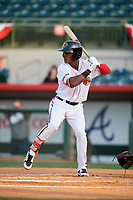 Florida Fire Frogs designated hitter Kevin Josephina (2) at bat during a game against the Palm Beach Cardinals on May 1, 2018 at Osceola County Stadium in Kissimmee, Florida.  Florida defeated Palm Beach 3-2.  (Mike Janes/Four Seam Images)