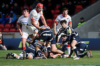 20130310 Copyright onEdition 2013©.Free for editorial use image, please credit: onEdition..Cillian Willis of Sale Sharks passes during the LV= Cup semi final match between Sale Sharks and Saracens at the Salford City Stadium on Sunday 10th March 2013 (Photo by Rob Munro)..For press contacts contact: Sam Feasey at brandRapport on M: +44 (0)7717 757114 E: SFeasey@brand-rapport.com..If you require a higher resolution image or you have any other onEdition photographic enquiries, please contact onEdition on 0845 900 2 900 or email info@onEdition.com.This image is copyright onEdition 2013©..This image has been supplied by onEdition and must be credited onEdition. The author is asserting his full Moral rights in relation to the publication of this image. Rights for onward transmission of any image or file is not granted or implied. Changing or deleting Copyright information is illegal as specified in the Copyright, Design and Patents Act 1988. If you are in any way unsure of your right to publish this image please contact onEdition on 0845 900 2 900 or email info@onEdition.com