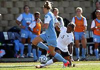 SAN DIEGO, CA - DECEMBER 02, 2012:  Katie Bowen (15) of the University of North Carolina tackles Maya Hayes (5) of Penn State University during the NCAA 2012 women's college championship match, at Torero Stadium, in San Diego, CA, on Sunday, December 02 2012. Carolina won 4-1.