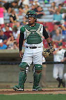 Kane County Cougars catcher Edul Escobar #11 throws during a game against the Beloit Snappers at Fifth Third Bank Ballpark on June 26, 2012 in Geneva, Illinois. Beloit defeated Kane County 8-0. (Brace Hemmelgarn/Four Seam Images)