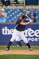 Wilmington Blue Rocks right fielder Roman Collins (34) at bat during the second game of a doubleheader against the Frederick Keys on May 14, 2017 at Daniel S. Frawley Stadium in Wilmington, Delaware.  Wilmington defeated Frederick 3-1.  (Mike Janes/Four Seam Images)