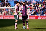 Sergio Canales (L) and Joaquin Sanchez (R) of Real Betis Balompie during La Liga match between Getafe CF and Real Betis Balompie at Wanda Metropolitano Stadium in Madrid, Spain. January 26, 2020. (ALTERPHOTOS/A. Perez Meca)