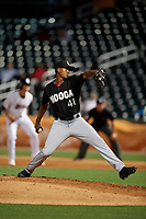 Chattanooga Lookouts relief pitcher Johendi Jiminian (41) during a Southern League game against the Birmingham Barons on May 1, 2019 at Regions Field in Birmingham, Alabama.  Chattanooga defeated Birmingham 5-0.  (Mike Janes/Four Seam Images)