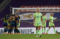 30th August 2020, San Sebastien, Spain;  Pernille Harder of VfL Wolfsburg after Lyon go 2-0 up during the UEFA Womens Champions League football match Final between VfL Wolfsburg and Olympique Lyonnais.