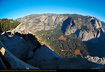 Glacier Point Northwest Fisheye View at Sunrise, Overhanging Rock, Yosemite Valley, Yosemite Falls Watercourse, Yosemite Point, Indian Canyon, Royal Arches, North Dome and Basket Dome, Yosemite National Park