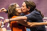 Spanish politician Monica Oltra and Pablo Iglesias kiss during the closing of the electoral campaign of Unidos Podemos. 24,06,2016. (ALTERPHOTOS/Rodrigo Jimenez)
