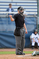 Umpire Tim Hromada during a game between the Beloit Snappers and Cedar Rapids Kernels on May 22, 2013 at Pohlman Field in Beloit, Wisconsin.  Beloit defeated Cedar Rapids 7-6.  (Mike Janes/Four Seam Images)
