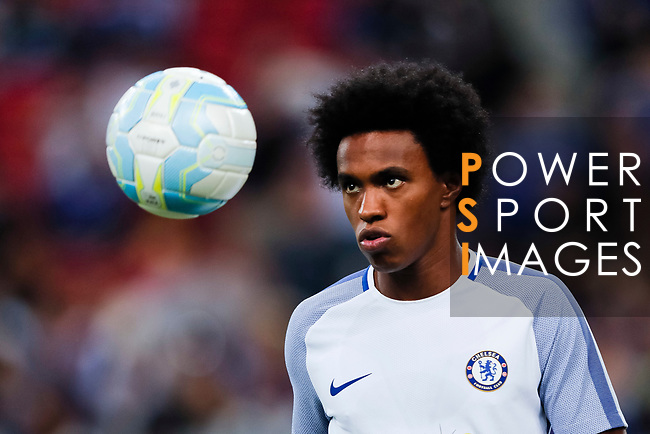Chelsea Midfielder Willian da Silva warming up during the International Champions Cup match between Chelsea FC and FC Bayern Munich at National Stadium on July 25, 2017 in Singapore. Photo by Marcio Rodrigo Machado / Power Sport Images