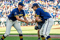 Michigan Wolverines pitchers Blake Beers (29) and Willie Weiss (20) before Game 3 of the NCAA College World Series Finals on June 26, 2019 at TD Ameritrade Park in Omaha, Nebraska. Vanderbilt defeated Michigan 8-2 to win the National Championship. (Andrew Woolley/Four Seam Images)