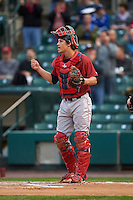 Lehigh Valley IronPigs catcher Logan Moore (11) during a game against the Rochester Red Wings on May 15, 2015 at Frontier Field in Rochester, New York.  Rochester defeated Lehigh Valley 5-4.  (Mike Janes/Four Seam Images)