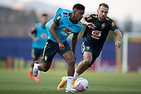 7th October 2020; Granja Comary, Teresopolis, Rio de Janeiro, Brazil; Qatar 2022 qualifiers;  Rodrygo and Everton Ribeiro of Brazil during training session