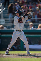 San Jose Giants center fielder Bryce Johnson (28) at bat during a California League game against the Modesto Nuts at John Thurman Field on May 9, 2018 in Modesto, California. San Jose defeated Modesto 9-5. (Zachary Lucy/Four Seam Images)