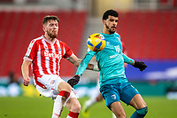 2nd January 2021; Bet365 Stadium, Stoke, Staffordshire, England; English Football League Championship Football, Stoke City versus Bournemouth; Nathan Collins of Stoke City with his eye on the ball