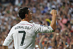 Real Madrid´s Cristiano Ronaldo (L) celebrates after scoring a goal (1-0) at a penalty kick during the Champions League semi final soccer match between Real Madrid and Juventus at Santiago Bernabeu stadium in Madrid, Spain. May 13, 2015. (ALTERPHOTOS/Victor Blanco)