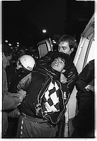 "Youth from the ""Blitz-house"", an occupied house, protest and clash with police. Oslo, Norway 1988"
