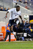 Nickardo Blake (4) of the Connecticut Huskies. Connecticut defeated Louisville 1-0 during the first semifinal match of the Big East Men's Soccer Championships at Red Bull Arena in Harrison, NJ, on November 11, 2011.