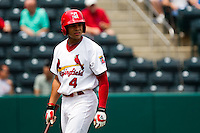 Thomas Pham (4) of the Springfield Cardinals walks back to the dugout after striking out during a game against the Arkansas Travelers on May 10, 2011 at Hammons Field in Springfield, Missouri.  Photo By David Welker/Four Seam Images.