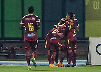 BARRANCABERMEJA - COLOMBIA, 25-02-2021: Jugadores del Tolima celebran después de anotar el primer gol durante partido por la fecha 9 como parte de la Liga BetPlay DIMAYOR I 2021 entre Alianza Petrolera y Deportes Tolima jugado en el estadio Daniel Villa Zapata de la ciudad de Barrancabermeja. / Players of Tolima celebrate after scoring the first goal during match for the date 9 as part of BetPlay DIMAYOR I 2021 Liga between Alianza Petrolera and Deportes Tolima played at Daniel Villa Zapata stadium in Barrancabermeja city. Photo: VizzorImage / Jose Martinez / Cont