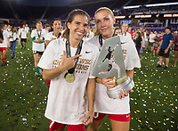 Orlando, FL - Saturday October 14, 2017: Tobin Heath, Allie Long and the NWSL Trophy during the NWSL Championship match between the North Carolina Courage and the Portland Thorns FC at Orlando City Stadium.   The Portland Thorns won the championship, 1-0.