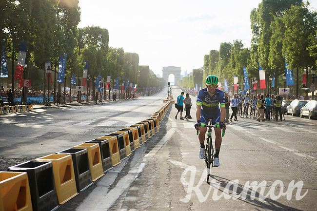 Michael 'Bling' Matthews (AUS/Orica-BikeExchange) rolling down the Champs-Elysées after finishing the 2016 Tour de France<br /> <br /> Final stage 21 - Chantilly › Paris/Champs Elysées (113km)<br /> 103rd Tour de France 2016