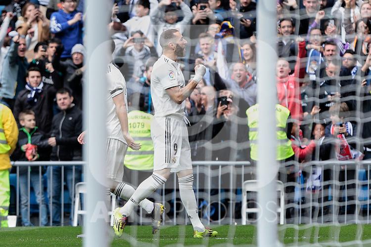 Real Madrid's Karim Benzema celebrates goal during La Liga match between Real Madrid and Athletic Club de Bilbao at Santiago Bernabeu Stadium in Madrid, Spain. April 21, 2019. (ALTERPHOTOS/A. Perez Meca)