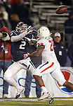 Nevada's Richy Turner (2) attempts a catch against Fresno State's Charles Washington (28) during the second half of an NCAA college football game in Reno, Nev., on Saturday, Nov. 22, 2014. (AP Photo/Cathleen Allison)