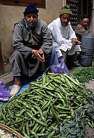 Fez, Morocco - Vegetable Vendor Bachiri Muhammad with Fava Beans, in Traditional Dress and Sandals, with friends.