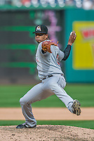 20 September 2015: Miami Marlins pitcher Jose Urena on the mound against the Washington Nationals at Nationals Park in Washington, DC. The Marlins fell to the Nationals 13-3 in the final game of their 4-game series. Mandatory Credit: Ed Wolfstein Photo *** RAW (NEF) Image File Available ***