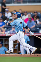 Jake Bauers (11) of the Durham Bulls follows through on his swing against the Buffalo Bisons at Durham Bulls Athletic Park on April 30, 2017 in Durham, North Carolina.  The Bisons defeated the Bulls 6-1.  (Brian Westerholt/Four Seam Images)