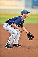 Asheville Tourists third baseman Todd Czinege (10) during game two of a double header against the Columbia Fireflies at McCormick Field on August 4, 2018 in Asheville, North Carolina. The Tourists defeated the Fireflies 8-0. (Tony Farlow/Four Seam Images)