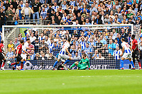 Shane Duffy of Brighton & Hove Albion (4)  Scores his teams 2nd goal of the game  during the Premier League match between Brighton and Hove Albion and Manchester United at the American Express Community Stadium, Brighton and Hove, England on 19 August 2018. Photo by Edward Thomas / PRiME Media Images.