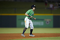 Ryan LaMarre (7) of the Gwinnett Stripers takes his lead off of second base against the Scranton/Wilkes-Barre RailRiders at Coolray Field on August 16, 2019 in Lawrenceville, Georgia. The Stripers defeated the RailRiders 5-2. (Brian Westerholt/Four Seam Images)