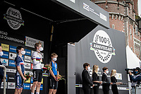 The podium in front of the City Jail where Per Strand Hagenes (NOR) is celebrated as the newest Junior Men World Champion<br /> <br /> World Championships Junior Men - Road Race (WC)<br /> from Leuven to Leuven (121.4km)<br /> <br /> UCI Road World Championships - Flanders Belgium 2021<br /> <br /> ©kramon