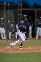 AZL Padres 2 shortstop Tucupita Marcano (1) starts down the first base line during an Arizona League game against the AZL Padres 1 at Peoria Sports Complex on July 14, 2018 in Peoria, Arizona. The AZL Padres 1 defeated the AZL Padres 2 4-0. (Zachary Lucy/Four Seam Images)
